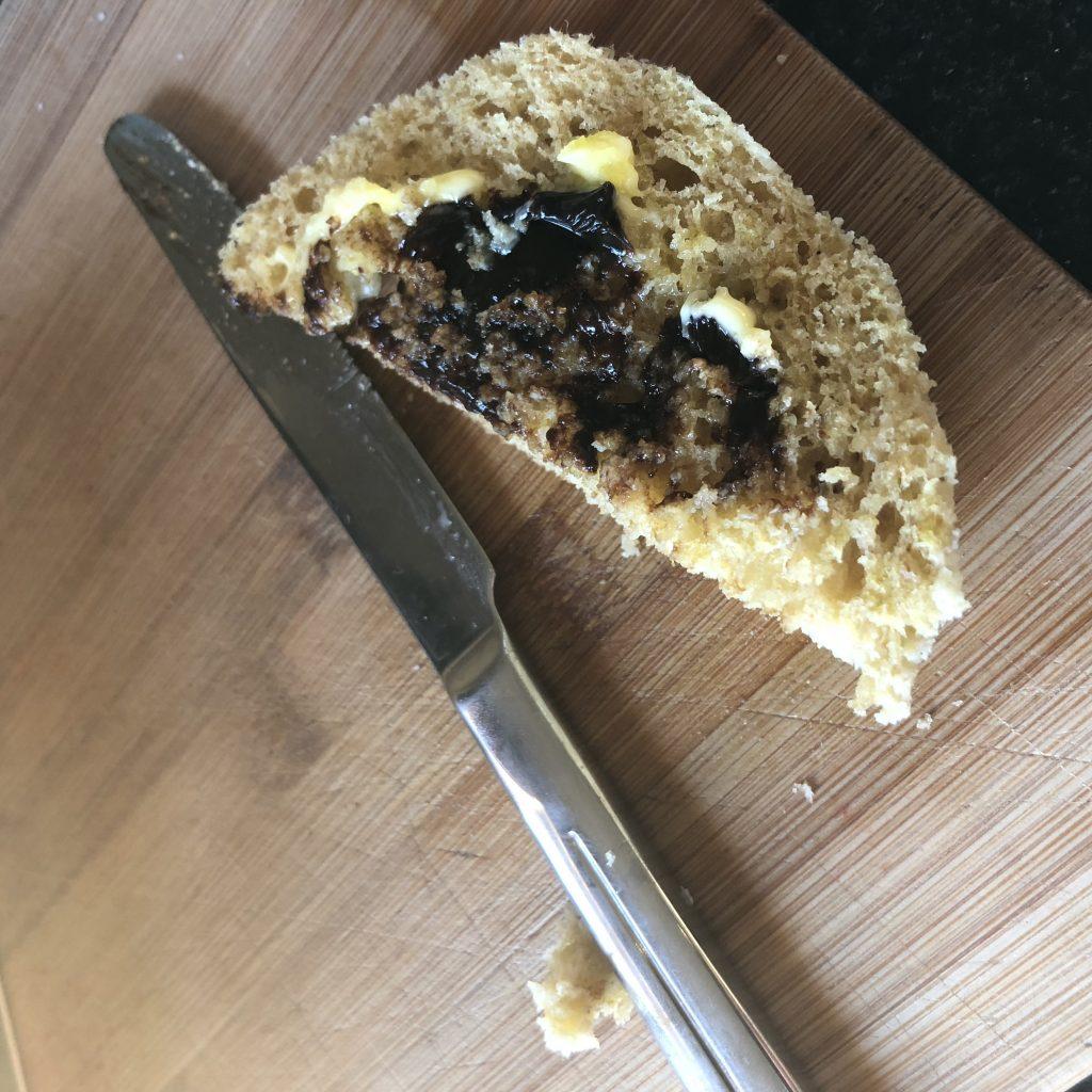 Keto bread with butter and vegemite